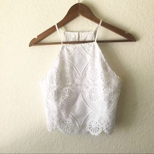 Abercrombie Crop Top Lace Fitch White S Spaghetti